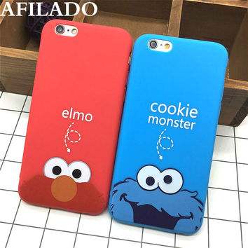 Fashion Cute Cartoon Cookie Elmo Soft TPU Slim Back Covers for IPhone 6 6s 5 5s SE Funny Silicone Ultra Thin Phone Case Shell