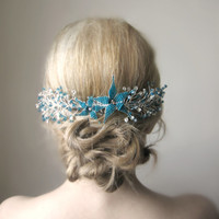 Wedding  Teal Blue Hairpiece.Bridal Blue Headpiece.Blue Hair Piece.Blue Head Piece.Blue Flower Comb.Beaded Wedding Comb.Blue Hair Accessory