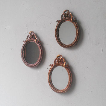 Miniature Framed Oval Mirror Set of Three in Three Shades of Gold