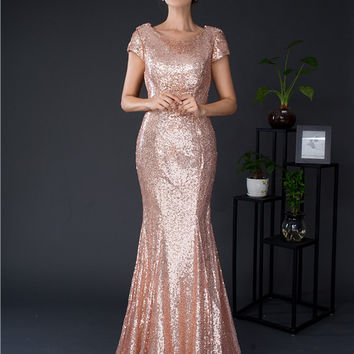 2017 Hot Rose Gold Sequin Mermaid Bridesmaid Dresses With Short Sleeves Backless Long Vestidos De Madrinha Cheap In Stock Real