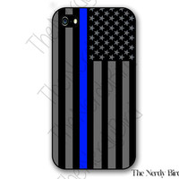 Thin Blue Line American Flag iPhone 4, 5 and 5C and Samsung Galaxy S3 and S4 Phone Case