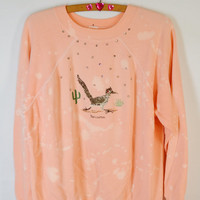 90s Sweatshirt Jumper Pastel Bird Cactus Soft Grunge Bleach Splatter Jewel Bling Womens Vintage Clothing Kawaii Grunge Road Runner Arizona
