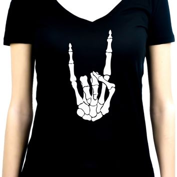 Horns Up Skeleton Hand Metal Sign Women's V-Neck Shirt Top Occult Clothing