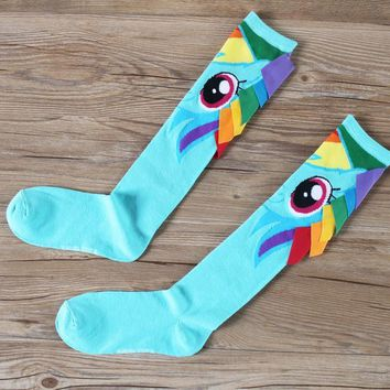 1Pair Stockings Anime My Little Pony Cute Rainbow Dash Cosplay Cotton Adult Stockings Fit Spring Summer Antumn Winter New