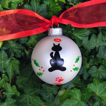 Personalized Cat Ornament for Pet Lover - Hand Painted Glass Ball Christmas Ornament