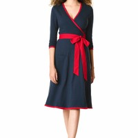 Contrast trim cotton knit wrap dress