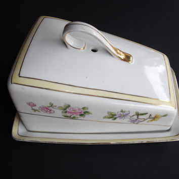 Anitque NIPPON Ceramic China Porcelain Pottery Cheese Dish With Floral Motif Table Serving Piece 1890 To 1921