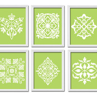 Lime Green Wall Art Bedroom Bathroom Artwork DAMASK Kitchen Set of 6 Prints White Ornament Design Pattern Decor French Country
