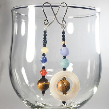 NEW Solar System earrings - onyx, tigers eye, jasper, sodalite, moonstone, topaz, hematite, shell - Planets, Sun, Moon, Mars, Venus, Pluto