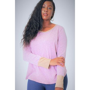 Long Sleeve Top In A Relaxed Style With A Round Neck And Faux Suede Contrast Wrist Cuff.