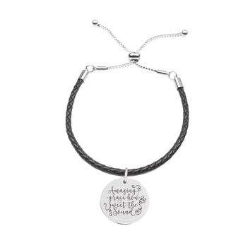 Genuine Leather Cord Inspirational Slider Bracelet  - AMAZING GRACE