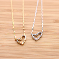 tiny OPEN HEART necklace with crystals, 2 colors | girlsluv.it
