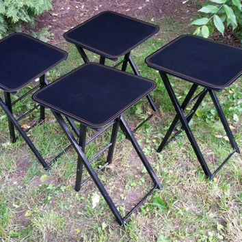 Black Laminate TV Tray Table Set with Stand Artex Folding Tables