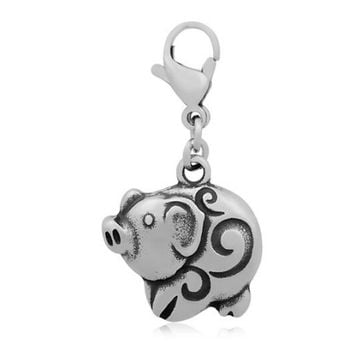 30pcs Charms 3D Pig 17*34mm Stainless Steel Charms Pendants Making DIY Handmade Animal Jewelry