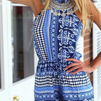 Blue Halter Mixed Folk Print Romper