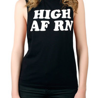 The High RN Muscle Tee in Black