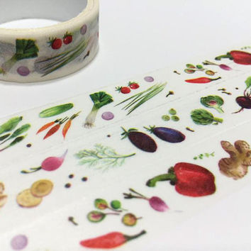 Vegetable masking tape 3M Vegetarians food lite dinner washi tape receipt sticker tape cooking planner food part diary scrapbook gift