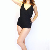 Vintage 80s does 50's Bathing Suit Beach Bay Size 12 Black Swimsuit One Piece Sweetheart Neck Medium Low Hip Pin Up Nautical Glam Gold