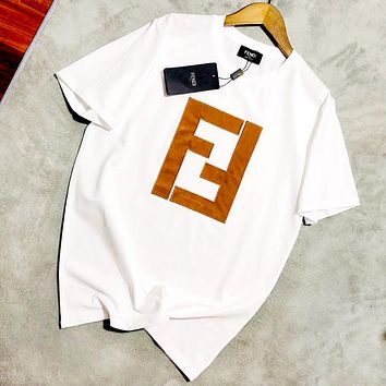 Fendi 2019 new embroidered letters for men and women loose round neck half sleeve T-shirt white