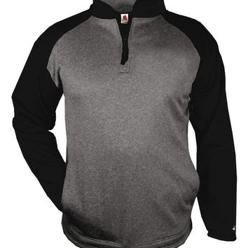 Badger 1484 Sport Heather 1/4 Zip - Carbon Heather Black
