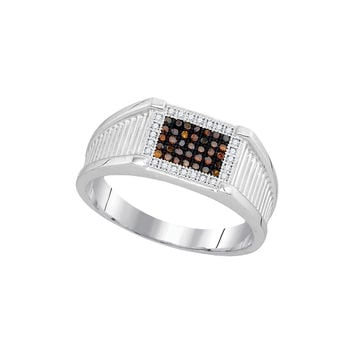 10kt White Gold Mens Round Black Colored Diamond Rectangle Frame Cluster Ring 1/5 Cttw 93212