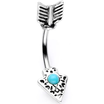 Faux Turquoise Feather Arrow Double Mount Belly Ring