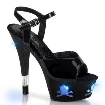 Black Blue Light Up Skull Platform Heels