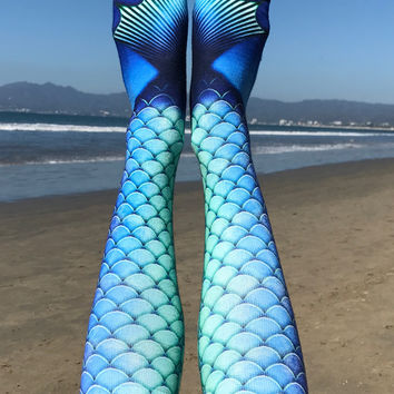 Mermaid Blue Knee High Socks