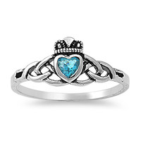 925 Sterling Silver CZ Claddagh Wicca Guidance Simulated Blue Topaz Ring 8MM