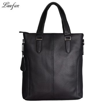 Men's genuine leather business bag Real leather shoulder bag cow leather vertical briefcase cowhide work tote bag