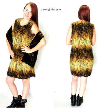 90s shaggy tiger print dress M L grunge shag animal print dress 1990s shaggy jungle wild cat party dress SunnyBohoVintage