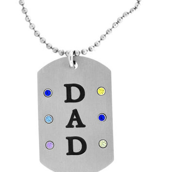Stainless Steel Dad Dog Tag Pendant with 6 Personalized Birthstones