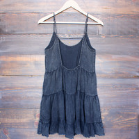 acid wash open back tiered dress