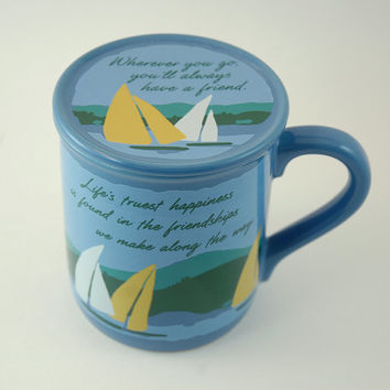 Vintage Mug with Coaster Lid, Hallmark Mug Mates, Friendship Mug with Sailboats, 1985