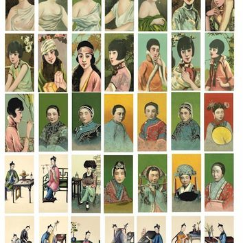 Vintage Asian Chinese girls cigarette cards clip art collage sheet 1x2 inch bamboo DOMINO SIZE