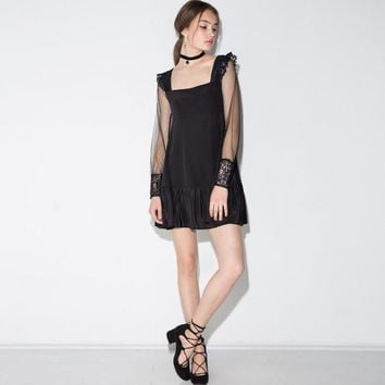 Broken Babydoll Black Sheer Sleeve Dress
