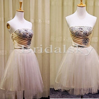 Short Sequined Tulle Bridesmaid Dresses Evening Dresses Prom Dresses Formal/Informal Occasions 2014