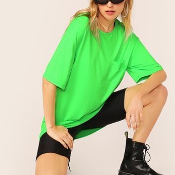 Neon Green Pocket Patched Drop Shoulder Top