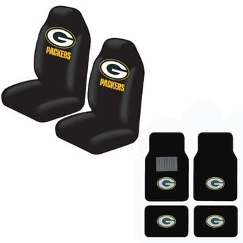 Packers Front And Rear Carpet Auto Floor liner mats And Seat Cover Set