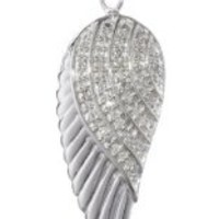 Sterling Silver and Diamond Angel Wing Pendant Necklace (1/10 cttw, I-J Color, I2-I3 Clarity). 18""