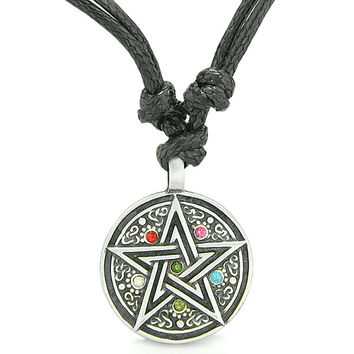 Amulet Magical Pentacle Star Defense Crystals Circle Pewter Pendant Necklace