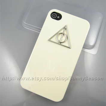 IPhone 4 Case,iphone 4s case, Harry Potter Silver Deathly Hallows iPhone Case, White iPhone 4/4s Hard Case