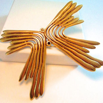 OSCAR De La RENTA Modernist Butterfly Brooch, Gold Plated, Large, Unique Vintage