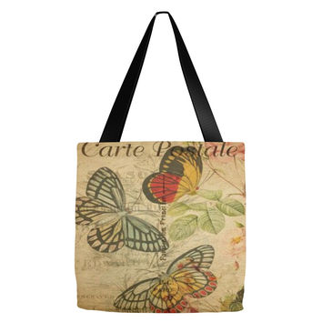 Vintage Butterfly Postcard Tote Bag 18 x 18""