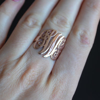 Sterling Silver, Monogram Ring, Personalized Ring,  Monogram, Engraved Ring, Bridesmaids Ring, Valentines Day