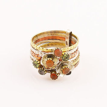 Peridot and Carnelian Sterling Silver Three Tone Stack Ring