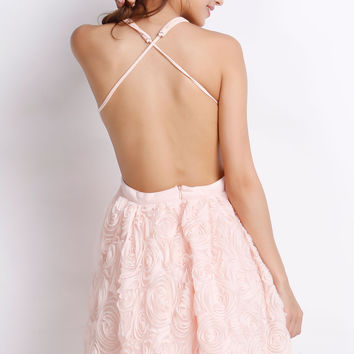 Coral Lace Halter Cut Out Mini Skater Dress