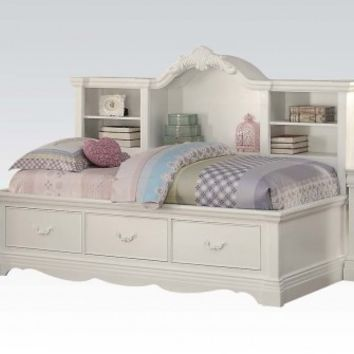Estrella collection white finish wood twin day bed with pull out storage drawers