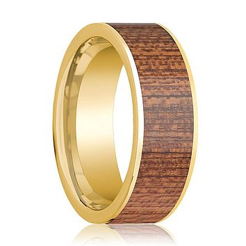 Mens Wedding Ring Polished 14k Yellow Gold Flat Wedding Band with Cherry Wood Inlay - 8mm
