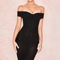 Clothing : Bandage Dresses : 'Camellia' Black Off Shoulder Mesh + Bandage Dress